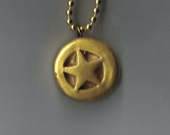 gold steampunk star pendant
