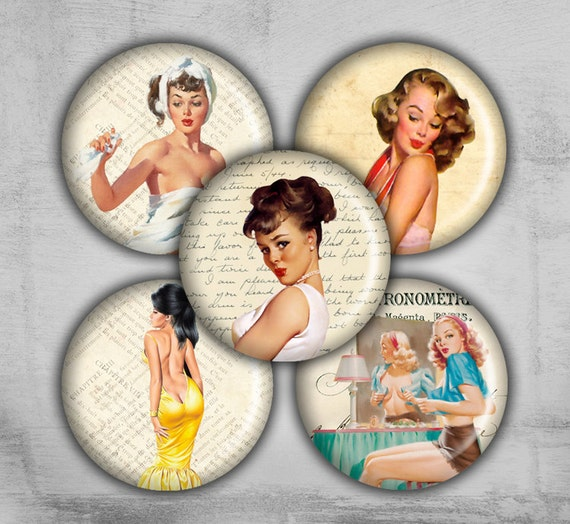 1 inch Digital Collage Sheet - Pinup Girl - Printable Downloads - Best for jewelry pendants, bottle caps - Instant Download - PAPER PINUP