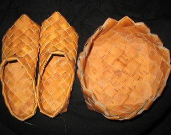 Brich-bark shoes and brich holder.