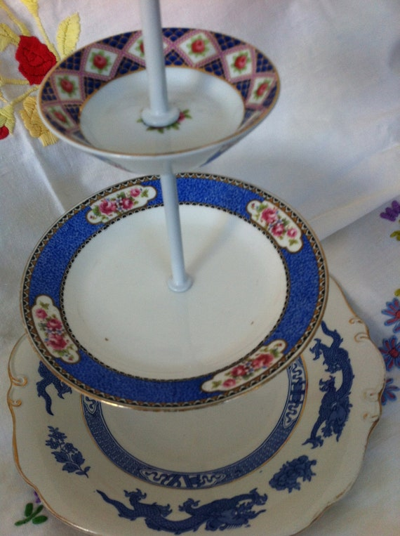 vintage three tier cake stand ,blues and white mismatched china