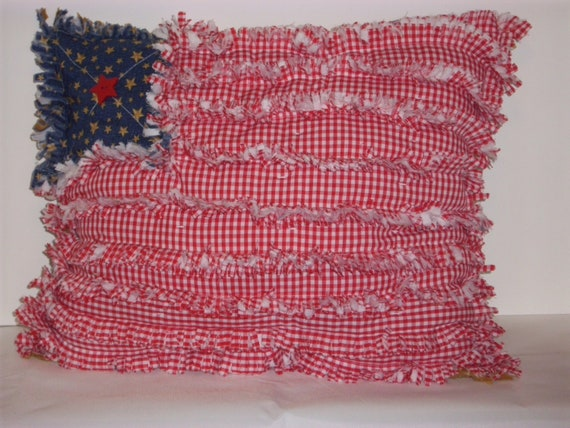 Handmade Decorative PATRIOTIC UNITED STATES  Flag Pillow Sewn in Rag Style Unique /Cottage Chic/ Country Chic
