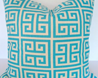 PILLOWS Throw Pillow Covers AQUA Blue Turquoise  20x20 Aqua Decorative Throw Pillows Greek Key Modern Home and Living