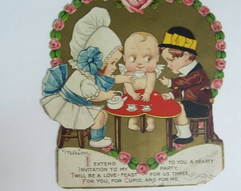 Vintage Mechanical Die Cut Paperdoll Valentine Day Greeting Card with Girl Boy and Cupid