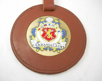 Vintage Leather Brass Luggage Tag Oceania Club Address Birthday Bon Voyage