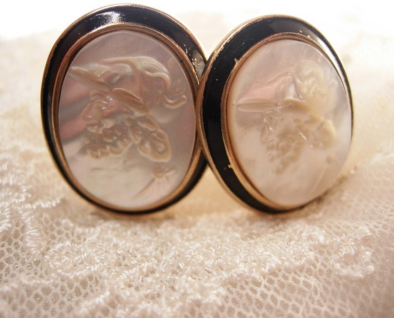 Vintage Cameo  Mother of Pearl  Cuffinks  Large Enamel  Greek god Swank wedding anniversary business