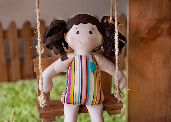 Girl Doll, CHESTNUT CHELSEA, Girl Rag Doll that is Waldorf and Vintage Inspired, Modern Rag Doll, Toy