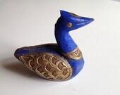 Vintage Wood & Brass Duck Decorative Figurine FOUND in India