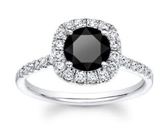 Women's 14kt white gold 3ct round brilliant black diamond cushion halo engagement with 0.50 ctw white diamonds