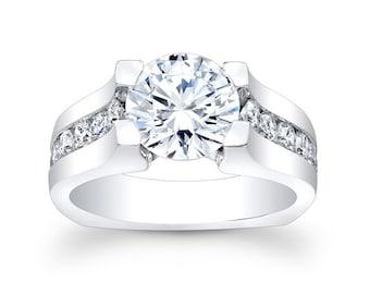 Ladies 18kt diamond engagement ring 1.00 ctw G-VS2 diamonds with 2ct Round White Sapphire center