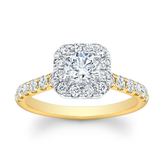 Ladies 18kt two-tone shared-prong diamond cushion halo engagement ring 0.60 carats G-VS2 diamonds w/1.50ct Round shape White Sapphire Ctr