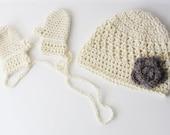 crochet baby beanie / crochet cream mittens / sparkle beanie / grey flower / photo prop / ultra soft /made to order