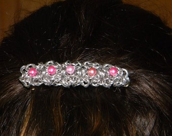 Aluminum Chainmail Barrette with 6mm Pink Pearlescent Beads
