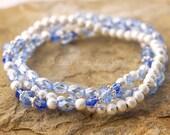 Shimmery Blue Beaded Stretch Stack Bracelet Light Blue Sapphire, Blue, Cobalt Blue, Silver