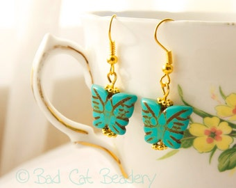 Blue Butterfly Turquoise Blue and Gold Bead Drop Earrings Pierced, Clip On