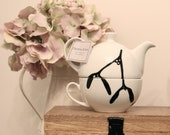 SALE WAS 16 now  12 Hand Illustrated mistletoe tea for one teapot set by Chelsie Alice