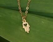 Gold Hamsa necklace, hamsa pendant, gold necklace, tiny necklace, delicate necklace, small hamsa, gift for her, bridesmaid necklace,