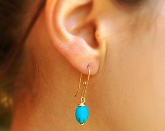 Turquoise earrings, gold earrings, silver earrings, bridesmaid earrings, turquoise jewelry, oval turquoise earrings, silver turquoise