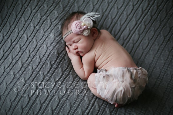 Diaper Cover Peach Pink Lace Baby Fascinator Pearl