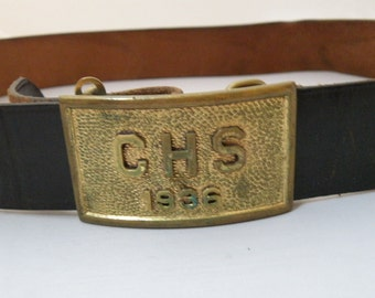1936 Leather Belt with Buckle