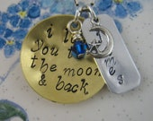 Hand Stamped Jewelry Personalized Mothers Necklace Mixed Metals