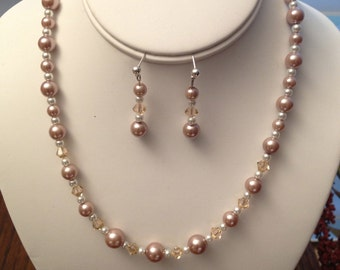 Blush Pearl and Swarovski Necklace and Earring Set