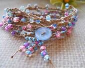 TOPSY -TURVY crochet wrap, anklet, necklace, bohemian, hippie chic, wrapped, bracelet