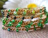 Crochet wrap bracelet, anklet, necklace, bohemian, hippie chic -EVERGREEN-  wrapped, bracelet
