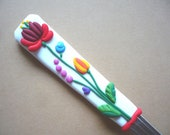 Cocktail spoon with original hungarian kalocsai motif, handmade personalized cutlery, party gift
