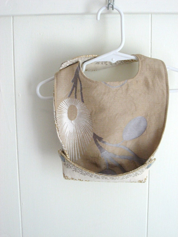 Silk Baby Bib, Wedding or Special Occasion Childrens Clothing, Reversible and Crumb Catcher Bib
