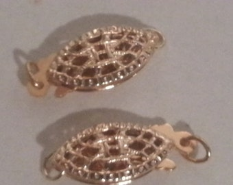 2 Pieces Gold Filled Filigree Clasp 14mm x 6mm