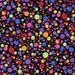 Rainbow Bright Dots red orange blue green purple pink dots in graduated sizes on black cotton fabric - LAST YARD