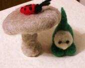 little gnome, mushroom, toadstool, ladybug handmade OOAK wool doll needle felted soft toy,waldorf,pocket play people