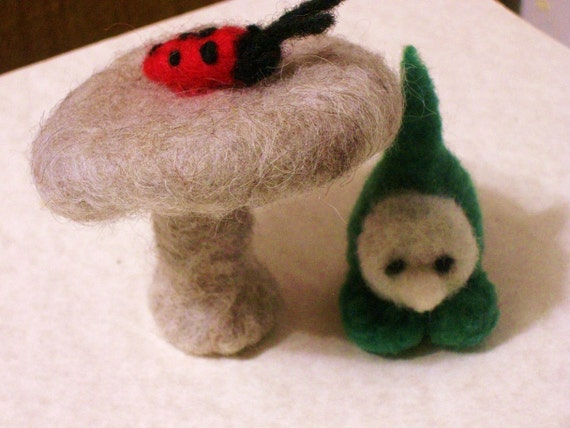 little gnome, mushroom, toadstool, ladybug handmade OOAK wool doll needle felted soft toy,waldorf,pocket play people