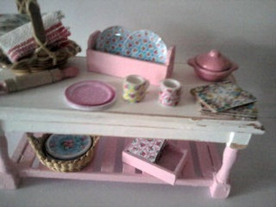 Dolls house shabby chic style kitchenware shop display