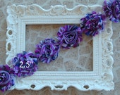 1/2 Yard  Purple Stripe Shabby Frayed Fabric Flowers Wholesale - PURPLE STRIPE - Wholesale Embellishments - Frayed Flowers