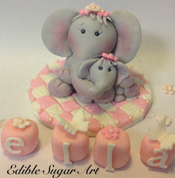 Fondant Elephant Mama And Baby Cake Toppers