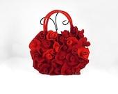 Red Purse Felted Bag Red Bag ROSES BAG Felt Nunofelt Nuno felt Silk Eco red ruby burgundy handmade fairy floral fantasy Fiber Art boho