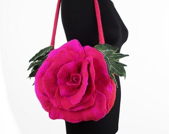 Felted Bag Pink Handbag Nunofelt Purse Felt Nunofelt Nuno felt Silk Eco rose fairy pink fuschiafloral fantasy shoulder bag Fiber Art boho