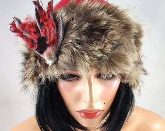 Felted Hat Cloche WILD BEAUTY Faux Fur Art Hat Flapper hat Art deco hat Retro hats Felt wearable art Nunofelt Nuno felt