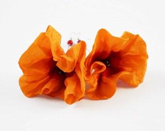 Halloween Party Nunofelt Earrings Tangerine Felted Earrings Orange earrings felt nuno flower nunofelt silk folk boho wool fairy