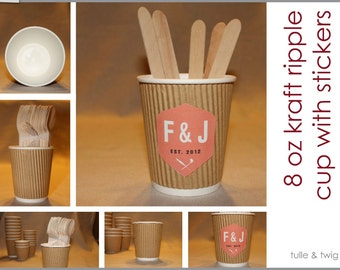 20 - 8 oz Kraft Ripple Paper Cups with CUSTOM Stickers