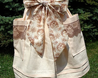 Peach Linen Hostess Half Apron