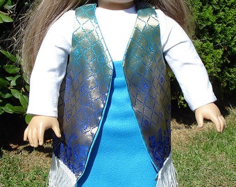 18 Inch Doll Clothes -  1970's Blue Maxi Skirt, Gold and Navy Vest Outfit handmade by Jane Ellen to fit 18 inch dolls