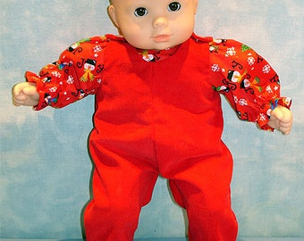 15 Inch Doll Clothes - Joy Snowmen Overalls Red Girls for 15 inch baby dolls