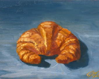 Croissant, 6 x 8, original oil painting on board