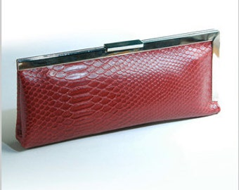 Snake Skin Leather Clutch, Red