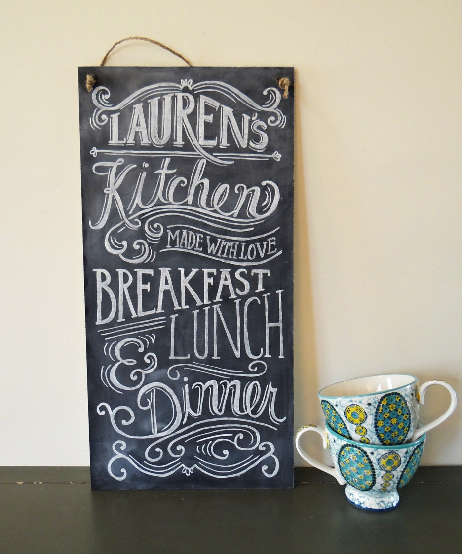 Custom Chalkboard Kitchen Chalkboard Sign Typography Art