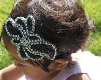 Black and Silver Beaded Headband, Baby Girl Headbands, Girl Beaded Headband, Women Beaded Headband, Infant Girl Beaded Headband