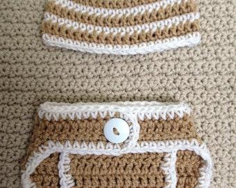 Handmade Newborn Hat & Diaper Cover