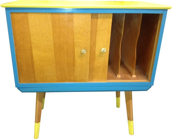 Retro Vinyl Organiser Cabinet and Table